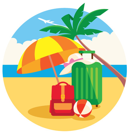 summer beach: Vector illustration of baggage on the summer beach under a palm tree and flying plane in the sky