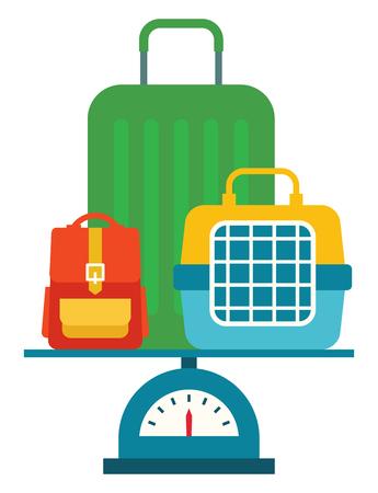 bagagli: Pesare vari zaino bagaglio valigia e gli animali che trasportano. Vettoriali