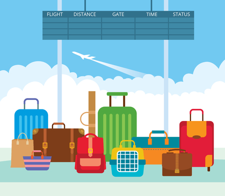 departure: Vector illustration of a big pile diverse luggage in the departure lounge of the airport. Suitcases, bags, carrying animal backpack.
