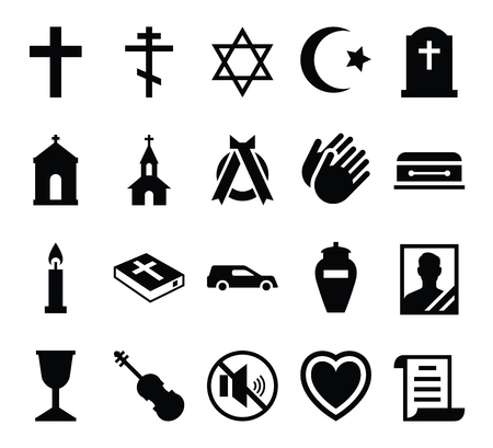 obituary: Set of vector icons cemetery and funeral and a funeral accessories