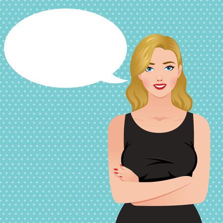 elegant woman: Beautiful elegant blond woman in a black dress and speech bubble Stock vector illustration