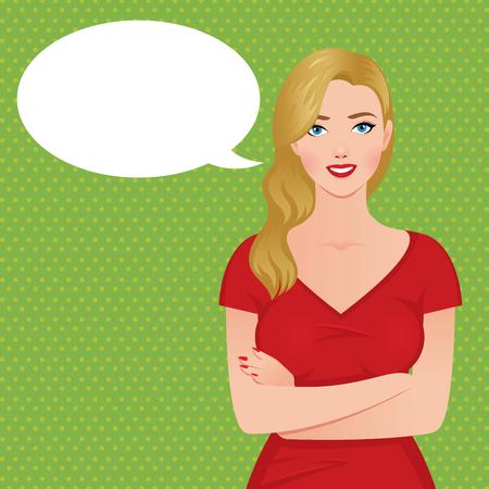 niña pensando: Ilustración vectorial material de una mujer rubia de lujo hermosa en un vestido rojo en el estilo de pin-up y la nube del habla