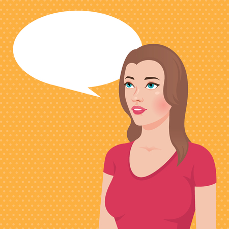 woman looking up: Stock vector illustration of a portrait of a young brunette woman thinks thought or said about something looking up Illustration