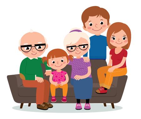 gran grupo familiar de los abuelos y el padre y la madre de un niño sentado en un sofá aislado en blanco