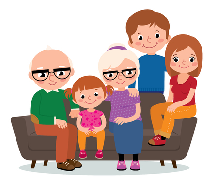 large family: Large family group grandparents mother and father and a child sitting on a sofa isolated on white Illustration