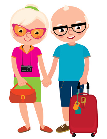 full length portrait: Mature couple travelers old husband and wife with a travel bag