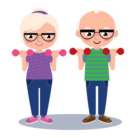 Ancianos pareja marido y mujer hacen deportes con pesas