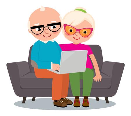 Cartoon vector illustration couple cheerful senior people web surfing on internet with tablet
