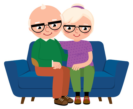 Cartoon vector illustration of an elderly couple embracing sitting on a sofa isolated on white background Illustration