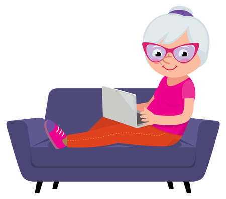 Cartoon vector illustration of a Mature woman with a laptop