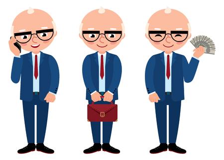 personas mayores: ilustración vectorial de dibujos animados hombre de negocios mayor en pleno crecimiento aislado en un fondo blanco Vectores