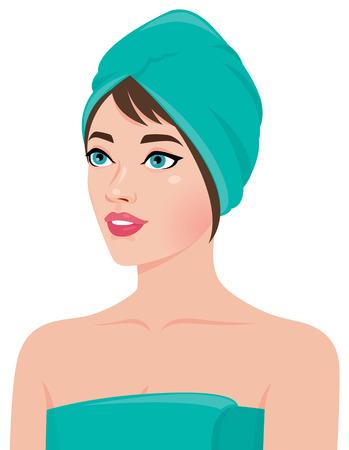 feminity: Portrait of a girl in the sauna towel