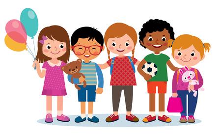 白い背景で隔離の異なる国籍の幸せな子供の株式ベクトル図グループ  イラスト・ベクター素材