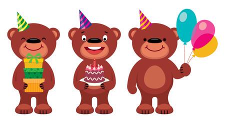 face of baby: Stock vector illustration teddy bear Celebrates Birthday Illustration