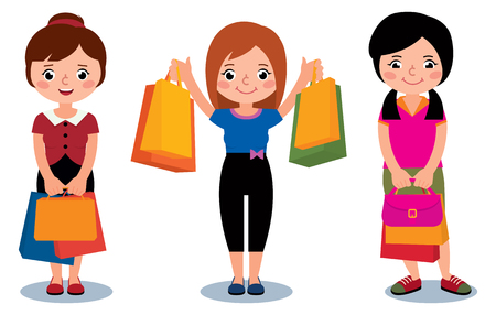 Women customers with packages shopping