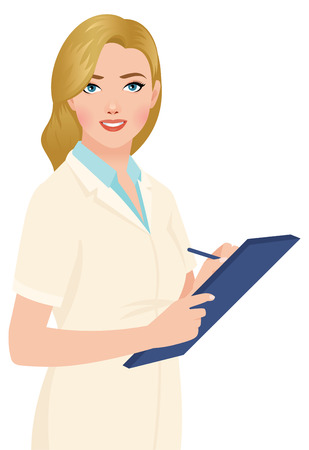 doctor tablet: Stock vector illustration of a blonde woman portrait of a doctor with a tablet in hands Illustration
