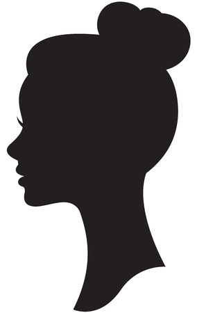 woman side view: Vector silhouette of a bride with a wedding hairstyle portrait in profile Stock Illustration