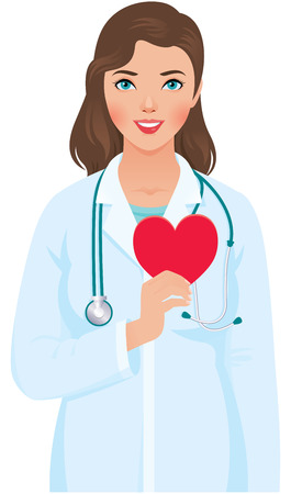 Vector illustration of a young woman cardiologist in the medical doctor uniform with a stethoscope and heart symbol in hand Illustration