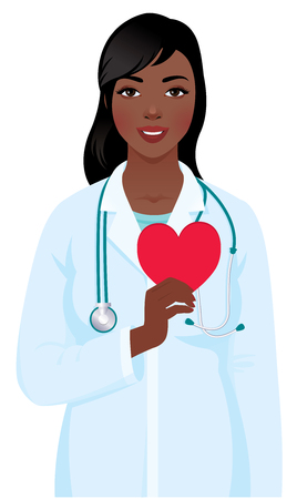 medical symbol: Vector illustration of a young african american woman cardiologist in the medical doctor uniform with a stethoscope and heart symbol in hand