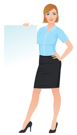 Confident business woman in office clothes holding a blank white board Stock vector illustration Çizim