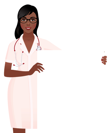 woman smiling: Woman doctor in medical uniform holding a blank white board vector illustration