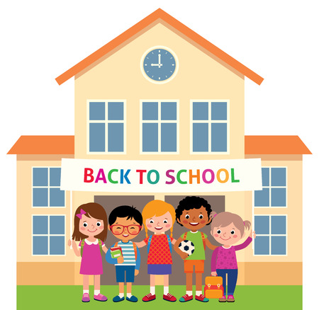 elementary schools: Children stand in an educational institution building and hold a banner with the inscription back to school Stock vector illustration