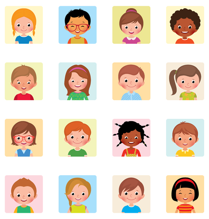 nationalities: Collection icons avatars children of different nationalities Stock vector illustration of flat