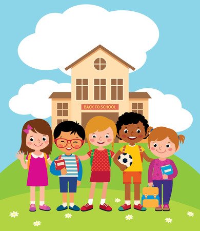 elementary schools: Group of happy children standing in front of the school building Stock vector illustration