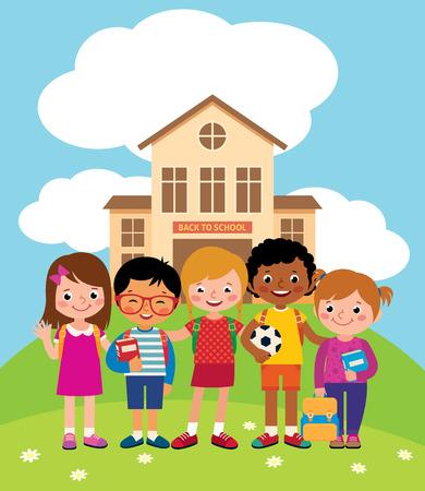 niños estudiando: Grupo de niños felices de pie en frente de la ilustración del vector de la construcción de escuelas