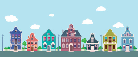 old houses: Colorful facades of the old houses on a city street cartoon Stock vector illustration Illustration