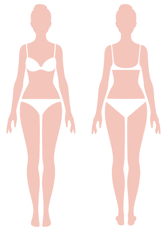 cuerpo femenino en los parámetros de medición de longitud completa de la ilustración del vector de la ropa Ilustración de vector