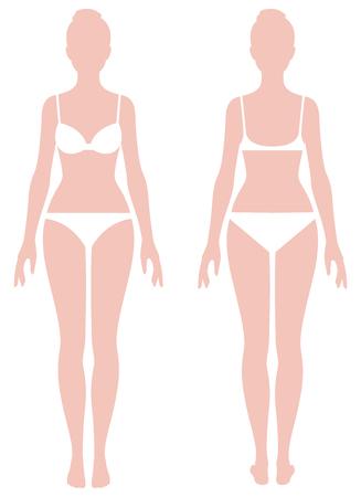 Kobiece ciało w pełnej długości parametrów pomiarowych dla ilustracji wektorowych Zdjęcie ubrania Ilustracje wektorowe