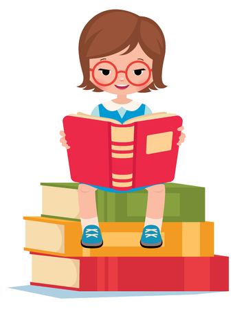 pile books: Girl pupil sitting on a pile books and reads Stock vector illustration Illustration