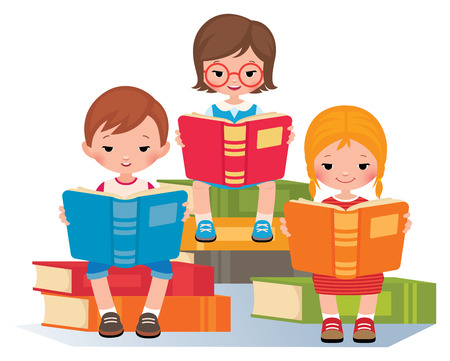 Group of children reading sitting on a pile of books Stock vector illustration