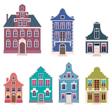 residences: Set of colorful houses in the Dutch style cartoon vector illustration