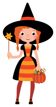 girl magic wand: Girl in costume Halloween witch with a magic wand vector cartoon illustration