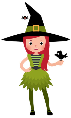 druid: Little girl in a druid witch costume with a crow in the hand Stock Vector cartoon illustration Illustration