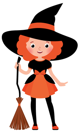red haired: Little red haired girl with a broom in Halloween witch costume on a white background Stock vector cartoon illustration