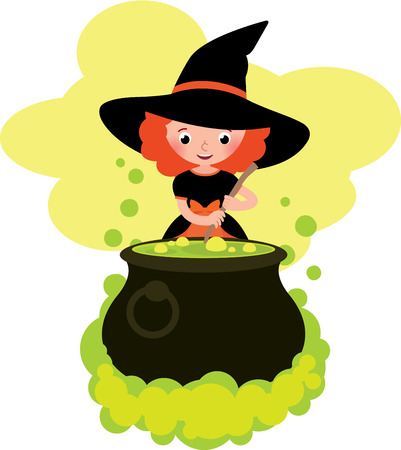 enchantment: Girl in costume Halloween witch cooks a potion in the big pot Stock cartoon vector illustration