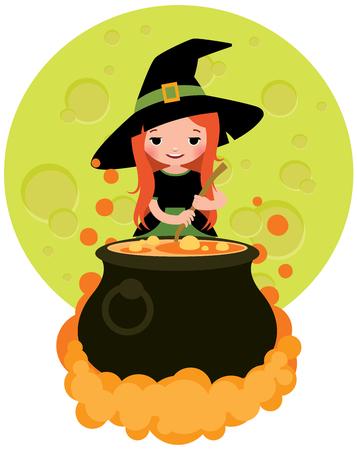 pocion: Halloween witch preparing potion cartoon vector illustration