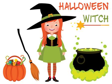 pocima: Conjunto de bruja de Halloween y su cosas mágicas ilustración de dibujos animados de vectores Vectores