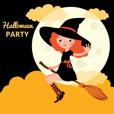 red haired: Little red haired witch flying on a broom on background of the moon on the night of Halloween Stock cartoon vector illustration