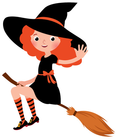 sexy halloween: Little redhead sexy Halloween witch flying on a broomstick Stock vector illustration