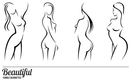 Zestaw stylizowane piękne kobiety sylwetki ilustracji wektorowych
