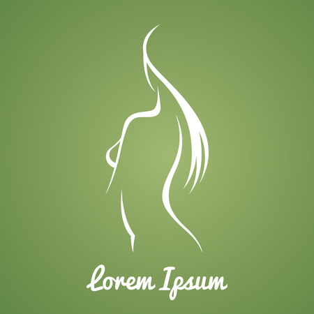 beautiful naked woman: Stylized vector image of a female figure beautiful blank for a beauty salon or spa