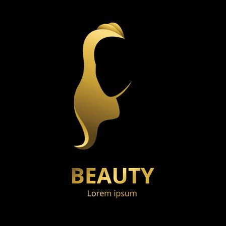 Vector silueta de oro de una mujer en la plantilla de perfil de logotipo o un concepto abstracto para los salones de belleza o spa, cosméticos, la moda y la industria de la belleza Logos