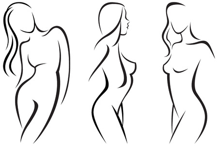 beautiful naked woman: Vector set stylized beautiful women silhouettes