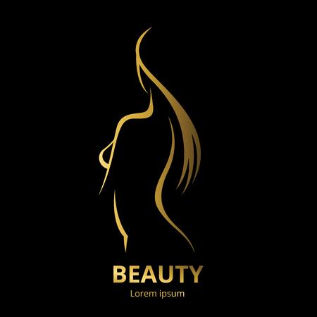 Vector modèle logo pour salon de beauté stylisée longue femme aux cheveux