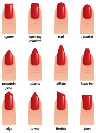 Stock vector illustration on a white background set of nails with nail polish painted red different forms Illustration