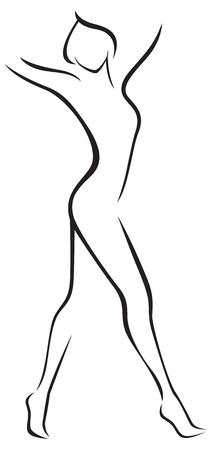 フルの長さの女性の白い背景様式化されたシルエットの株式ベクトル図  イラスト・ベクター素材